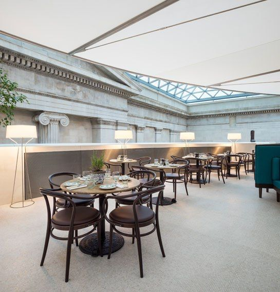 Great Court Restaurant in the British Museum; Bentwood-style chairs by Benchmark and streamlined Örsjö Belysning floor lamps