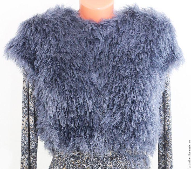 Купить Жилет Меховое чудо вязаный женский спицами - темно-серый, жилет меховой