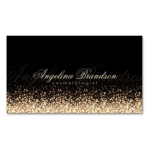 Shimmering Gold Cosmetologist Damask Black Card Double-Sided Standard Business Cards (Pack Of 100)