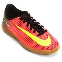 Chuteira Nike Mercurial Vortex 3 IC Futsal Infantil - Laranja+Preto