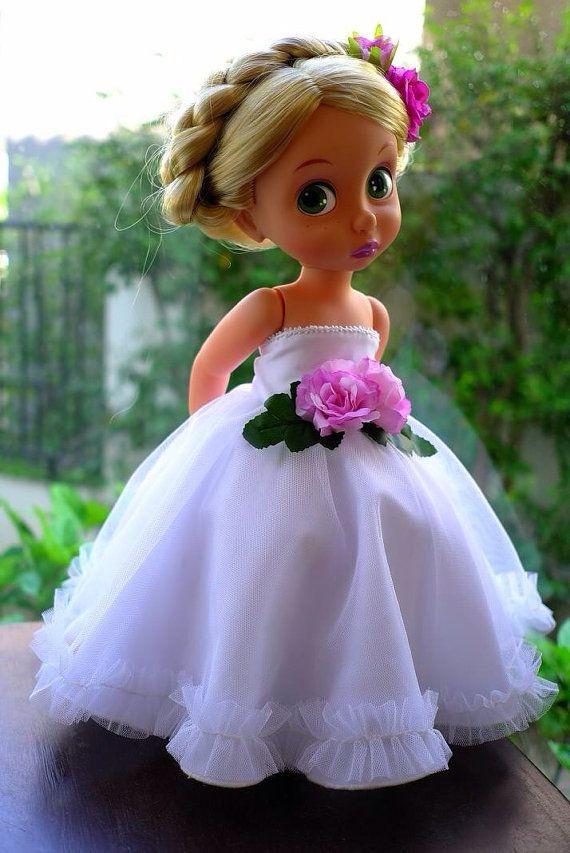 Princess  dress white for disney animator 16 doll by malanedoll