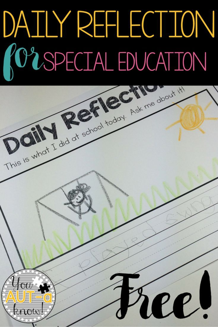 Daily Reflection for Special Education.  Reflection sheet in 5 formats for students with different skill sets.  Grab this FREE Daily Reflection set for Special Education!