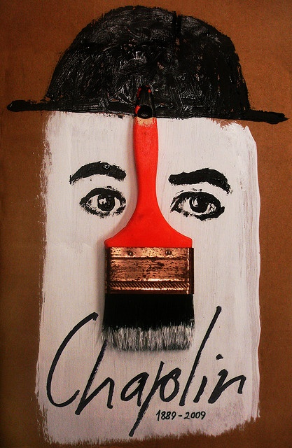 Unknown artist. Charlie Chaplin commemorative poster.   10 International Poster Biennial in Mexico