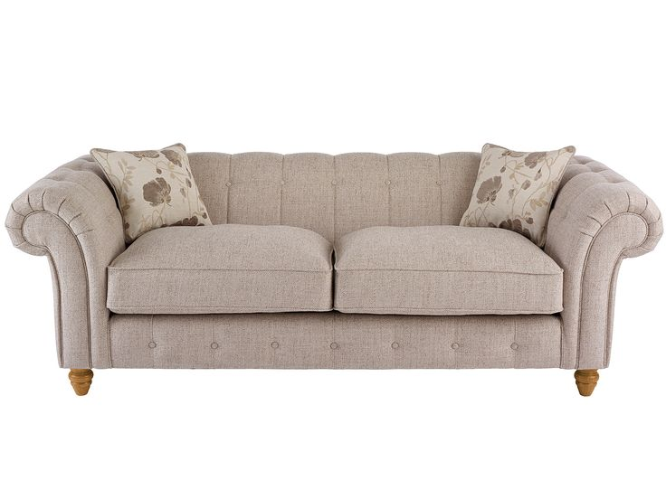 Chesterton Large Sofa Chesterfield in Riding Fabric - Cream