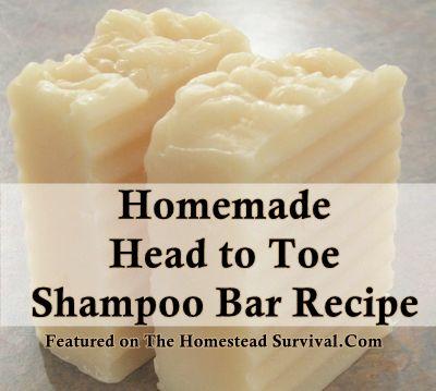 The Homestead Survival | Homemade Head to Toe Shampoo Bar Recipe | http://thehomesteadsurvival.com  Homemade Soap Recipe -