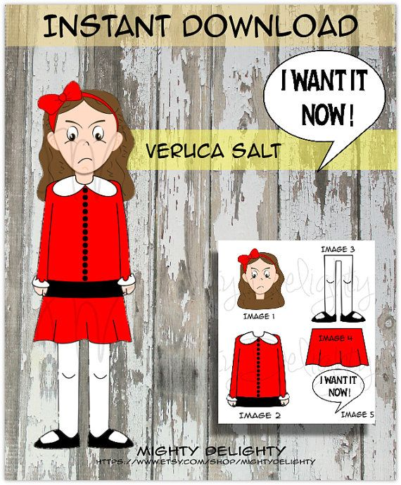 Willy Wonka Party Veruca Salt Character Cutout by MightyDelighty