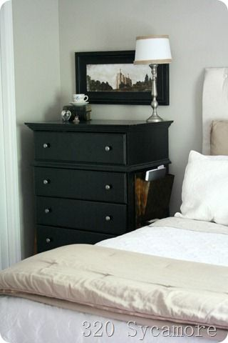 bedroom magazine rack attached to dresser instead of night table for small spaces via 320 sycamore