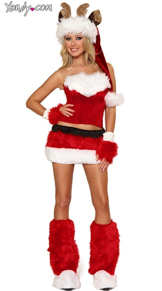 Faux fur reindeer costume set holiday christmas wear