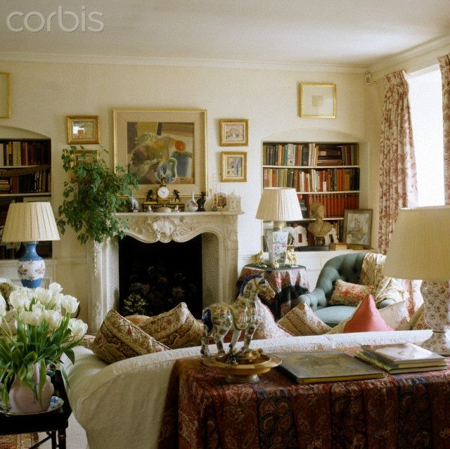 Room of the Day ~ cosy sitting room with skirted tables, art and books in England 9.1.2014