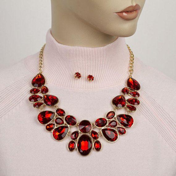 Red Crystal NecklaceRed Rhinestone NecklaceJeweled Bib