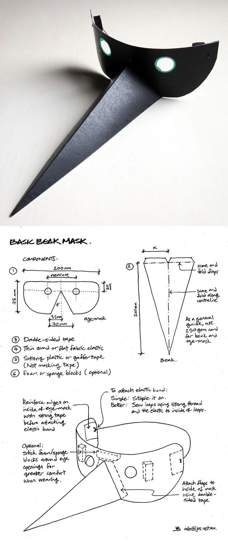 Como hacer una máscara de pájaro, con gran pico