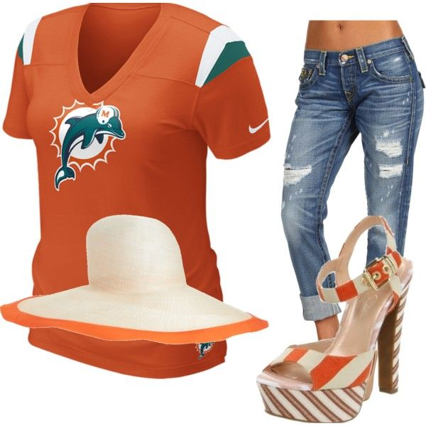 Cute weekend wear. I love big floppy hats, the miami dolphins, comfy capris and cute shoes. Created by Amy Cirillo