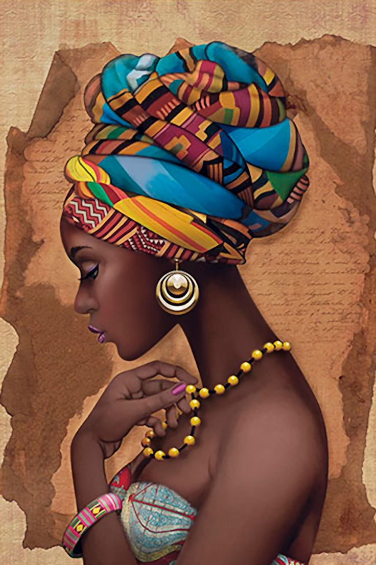 """""""African Yellow Necklace"""" - French Art {figurative beautiful female headdress profile pearls black woman face portrait painting} litoarte.com.br"""