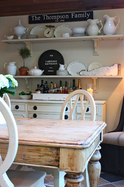 thinking of painting a buffet cream and building the shelves above it instead of buying a hutch. I like the look of this much better!