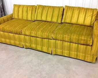 Vintage Mid Century Retro Modern Gold Couch Sofa Striped
