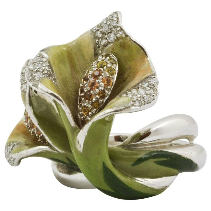 Sapphire Diamond Calla Lily Ring | From a unique collection of vintage fashion rings at https://www.1stdibs.com/jewelry/rings/fashion-rings/