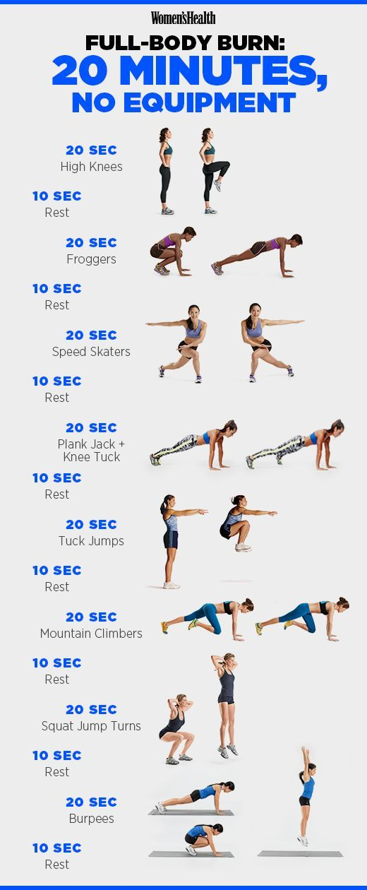 This 20-Minute Tabata Workout Beats an Hour on the Treadmill. Do each move for 20 seconds at maximum effort, resting for 10 seconds in between.  Rest for one minute. Repeat for a total of four rounds.