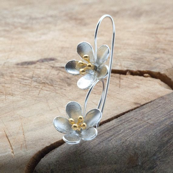 Flower Silver Drop Earrings Delicate Long by PiscesAndFishes