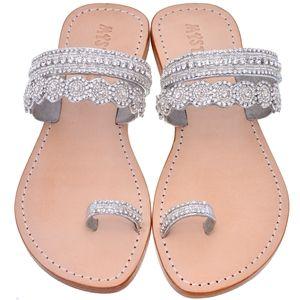 Toe Loop Sandals – Mystique Silver Sandal | Silver Beaded Sandals