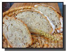 Na zahraničních webech jsem tento kváskový venkovský (vesnický, francouzský) chléb potkávala poměrně často a na fotkách se mi moc líbil. Samozřejmě, jak jsou naše a zahraniční mouky odlišné, asi nikdy ho neudělám přesně podle nich...ale vím, že je to chleba dost obyčejný, hodně světlý, s malinkým přídavkem žitné mouky a také pšeničné celozrnky - snad…