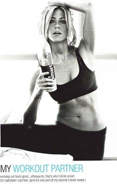 Smart Water, Jennifer Aniston–Yoga! #fitness #gym #workout