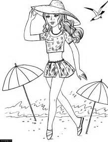 Barbie At The Beach Coloring Page For Girls Printable Barbie