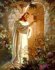 Christ at Heart's Door by Warner Sallman. Christ knocking on wooden door in brick wall. There is no handle on Christ's side of the door.