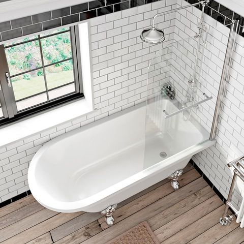 Shakespeare Freestanding Shower Bath and Bath Screen with Rail | VictoriaPlum.com