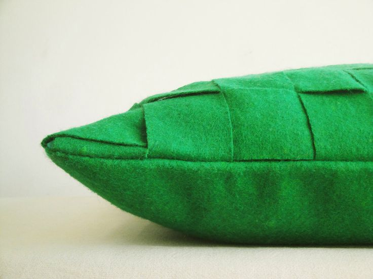 Green Felt Cushion Cover , Green Decorative Pillow , Accent Throw Pillow, Felt Pillow in Woven Pattern by anekdesigns on Etsy https://www.etsy.com/listing/174188066/green-felt-cushion-cover-green