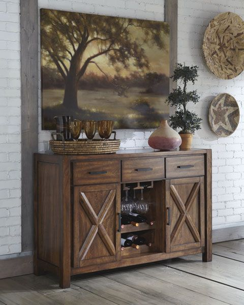 Signature Design By Ashley Waurika Dining Room Server With Wine Rack