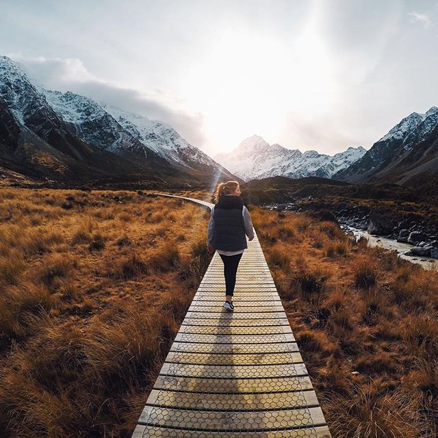 Adventurer, @bare_kiwi takes over our @goproanz handle today. Head down under for more from his travels.  About the Shot: This hike from the #MountCook village up the #HookerValley to the base of #NewZealand's highest #mountain has to be one of my favourite short walks. Hitting this narrow boardwalk forced me to drop slightly behind my girlfriend, Lisa and this shot revealed itself. Sometimes something candid turns out to be more beautiful than the perfectly staged.  #GoPro