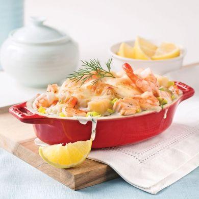 Gratin de saumon et fruits de mer au poireau - Recettes - Cuisine et nutrition - Pratico Pratique
