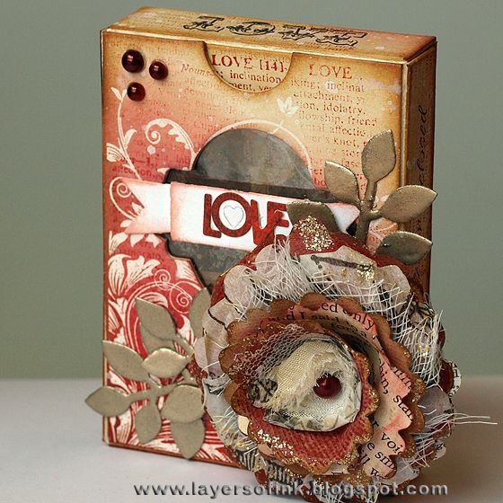 Layers of ink: Love ATC Box Tutorial, using Eileen Hull's Sizzix ATC Box die, flower dies, and lots of stamps and ink. There are many ATC inside the box. Full tutorial: http://layersofink.blogspot.com/2013/02/love-atc-box-tutorial.html