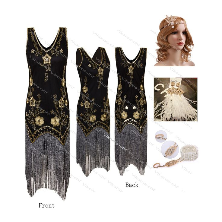 Gold Beads Fringed Flapper Gatsby 20's Wedding Party Prom Evening Formal Dress | Clothing, Shoes & Accessories, Women's Clothing, Dresses | eBay!