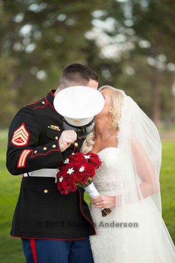 so precious...sneaking kisses ;-) #usmc #dressblues SSgt Knighten my man ...#proud