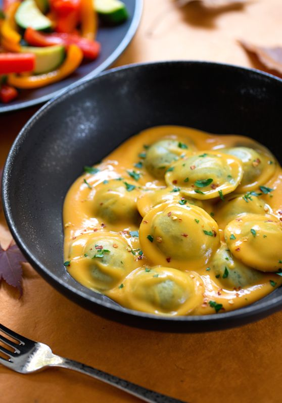 Vegan Holiday Recipes | Ravioli in sweet potato sauce. Less onion next time. But otherwise a bold, smooth, sweet flavor.