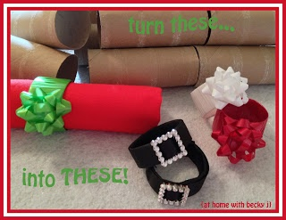 Make napkin rings from empty toilet paper or paper towel rolls! Really cute!