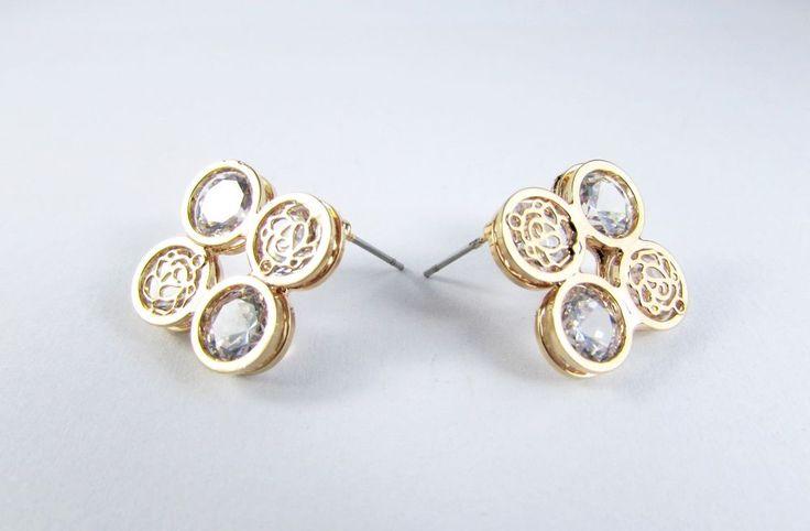 Gold Plated 18K GP Crystal Flower Stud Earrings Women Jewellery
