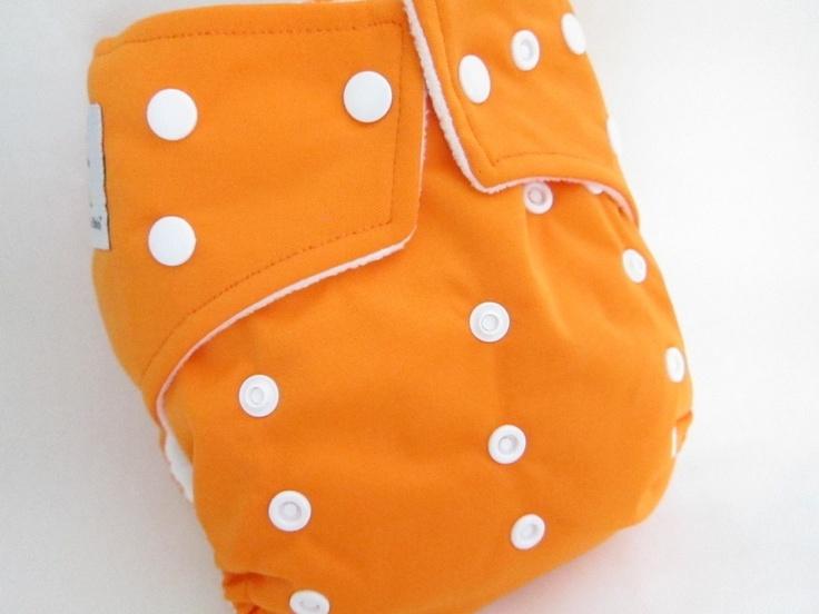 Original Cross-Over Squared Tab Snap cloth diaper.  Color: Orange Origin.