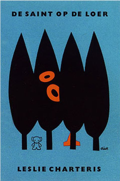 Book cover 1962. 'De saint op Loer' by Leslie Charteris. Dick Bruna is a Dutch author, artist, illustrator and graphic designer. Bruna is best known for his children's books which he authored and illustrated, now numbering over 200. His best known creation is Miffy (Nijntje in the original Dutch), a small rabbit drawn with heavy graphic lines, simple shapes and primary colors.
