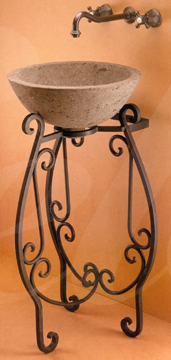 wrought iron sink | Matching set wall mirror and faucet sold separately.