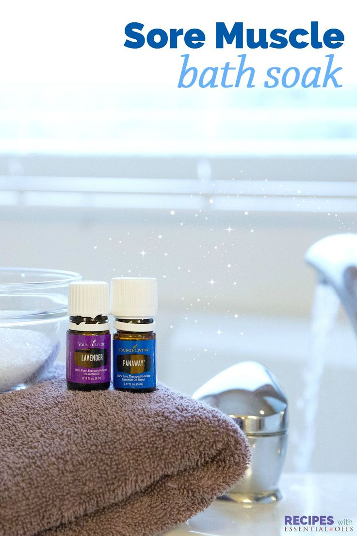 This is the exact recipe I use after working out or running! Sore Muscle Soak with Essential Oils | RecipesWithEssentialOils.com
