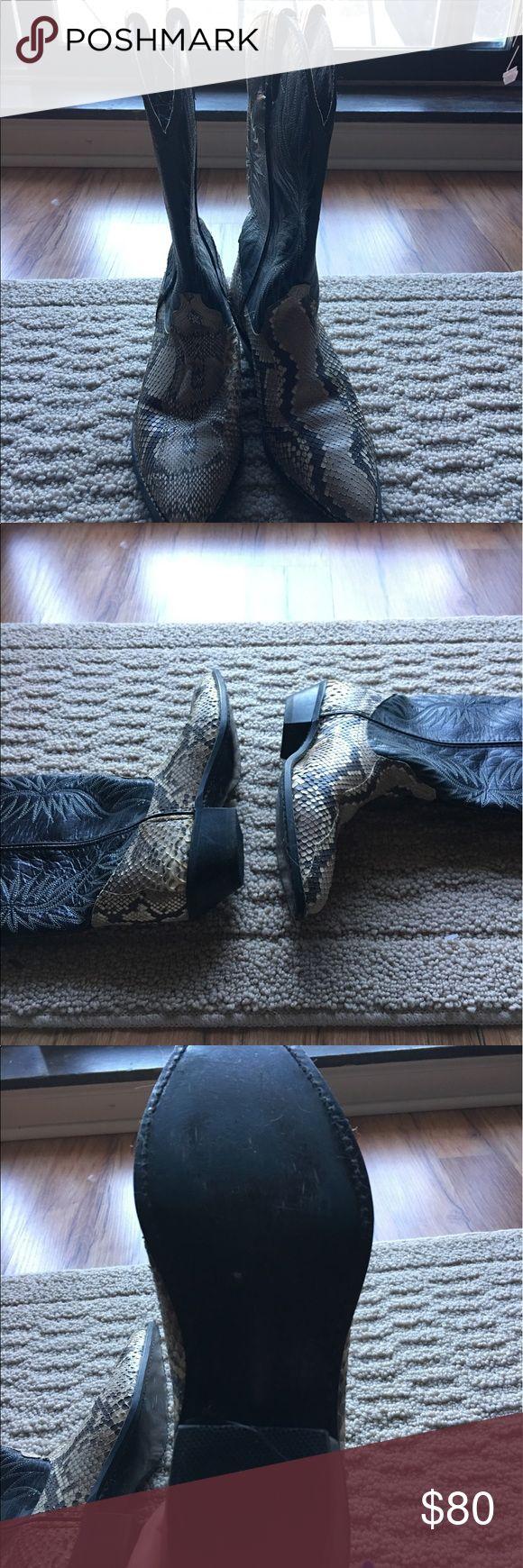 Handmade Snakeskin Cowboy Boots Size 8 Handmade Black,Brown and Beige Snakeskin Cowboy Boots. 8 Medium Worn Once custom Handmade  Shoes Heeled Boots