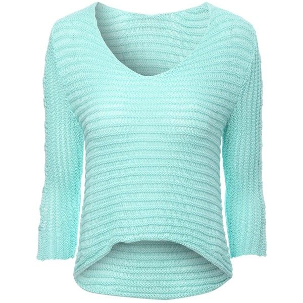 Jane Norman Cut Out Jumper ($20) ❤ liked on Polyvore featuring tops, sweaters, aqua, hauts, cutout tops, aqua top, blue jumper, aqua sweater and summer jumpers