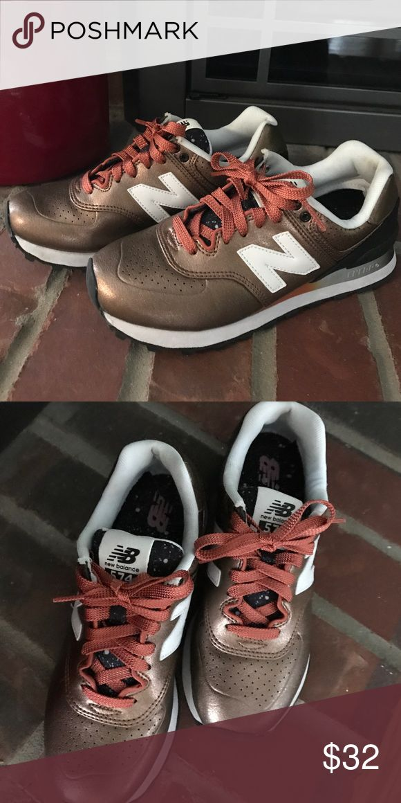 New Balance 574 women's New Balance 574 bronze & white size 6 New Balance Shoes Athletic Shoes