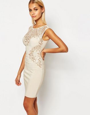 Lipsy Flat Sequin Bodycon Dress