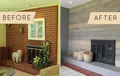 Before and after pictures brick fireplaces Visit diyremodelcenter.com