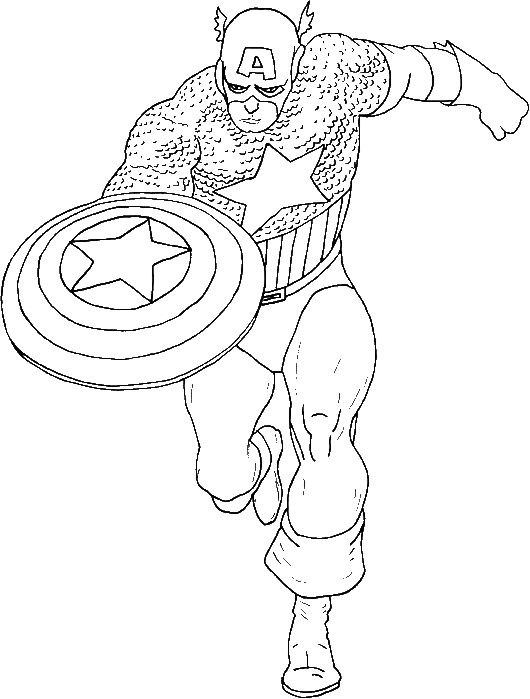 Captain America Is A Super Hero Coloring Pages Captain