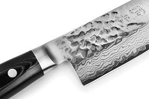 Enso HD 8-piece Hammered Damascus Slim Walnut Knife Block Set