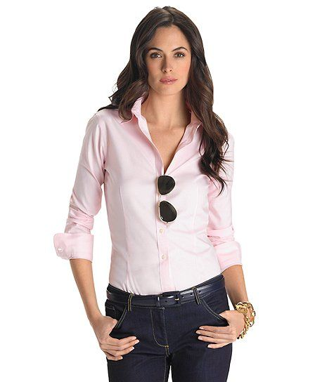 Women 39 S Non Iron Tailored Fit Dress Shirt A Dress Pink
